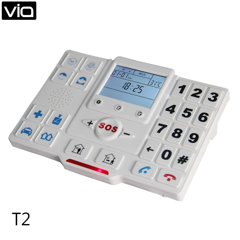 King Pigeon T2A Elder Alarm Wireless GSM SMS Home Security Alarm System With SOS Button GPRS For Elderly Care elder senior gsm alarm system wireless gsm sos button call home alarm system dialer panel elderly helper security k1