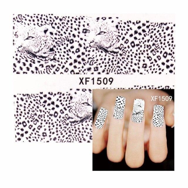 Wuf 1 Sheet Water Transfer Tattoo Full Tips Nail Art Beauty Y Leopard Design Sticker