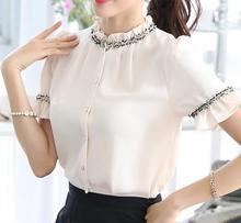 Элегантный blusas Летний стиль Для женщин Топы корректирующие Blusa feminina 2015 Большой Размеры Для женщин Блузки для малышек elbise Vestidos Кружево воланами Шифоновая блузка