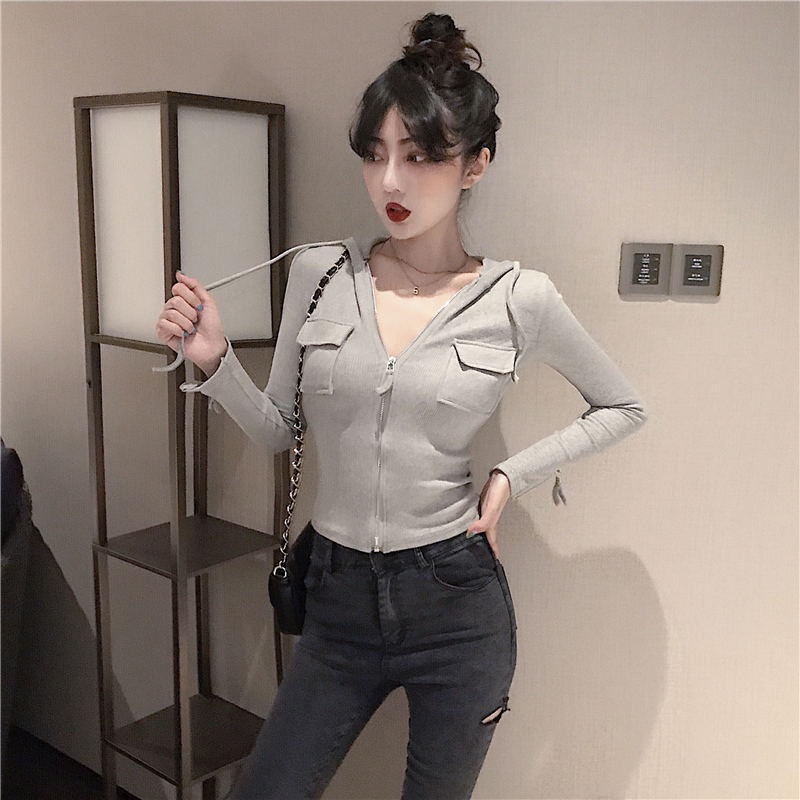 2019 Spring and summer Women's Clothing Jackets new coats and jackets women full vintage solid pockets Simple slim zipper 22