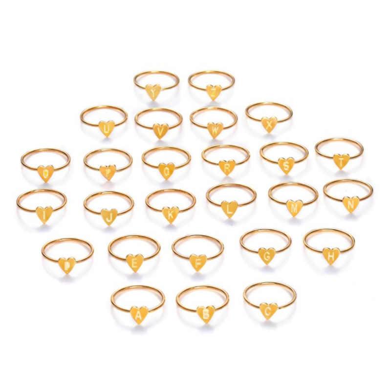 Venda quente simples diy letras anéis de noivado ajustável para as mulheres requintado jóias anéis de casamento acessórios femininos presente