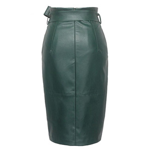 Image 2 - 3XL 4XL Pu Lederen Rok Vrouwen Plus Size Herfst Winter Sexy Hoge Taille Faux Leather Rokken Womens Belted Mode Potlood rok