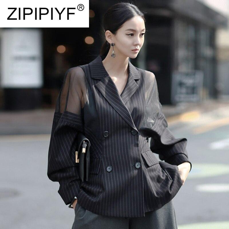 Alta calidad 2019 mujeres primavera moda Otoño doble botones de pecho linterna de manga completa malla empalmado talla grande rayado outwear-in chaquetas básicas from Ropa de mujer    1
