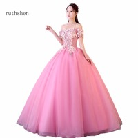 ruthshen New 2018 Pink Princess Quinceanera Dresses Boat Neck Short Sleeves Appliques Sweet 16 Quinceanera Dress Custo Ball Gown