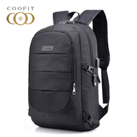 Coofit 2018 Causal Women Men Backpack Practical Anti Theft Lock Design Laptop Backpacks Travel Oxford Bookbag With USB Charging