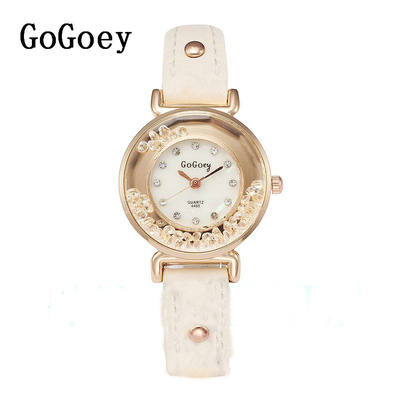 Hot Sales Gogoey brand leather watches women ladies crystal Dress Quartz Wrist Watch Relogio Feminino go4405 new fashion luxury brand crystal casual quartz watch women stainless steel dress watches ladies wrist watch relogio feminino hot