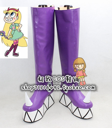 Star vs.the Forces of Evil Princess Star Butterfly Purple Cosplay Shoe Boot X002