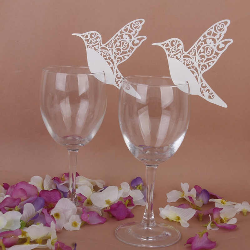 50pcs/pack White Humming Birds Wedding Table Name Place Cards Wine Glass Party Decor #87933