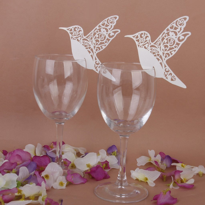 50pcs pack white humming birds wedding table name place for Wine glass table decorations