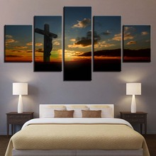 Canvas Paintings Home Decoration 5 Pieces Sunset Cross Pictures HD Prints Jesus Christ Poster For Living Room Wall Art Framework(China)