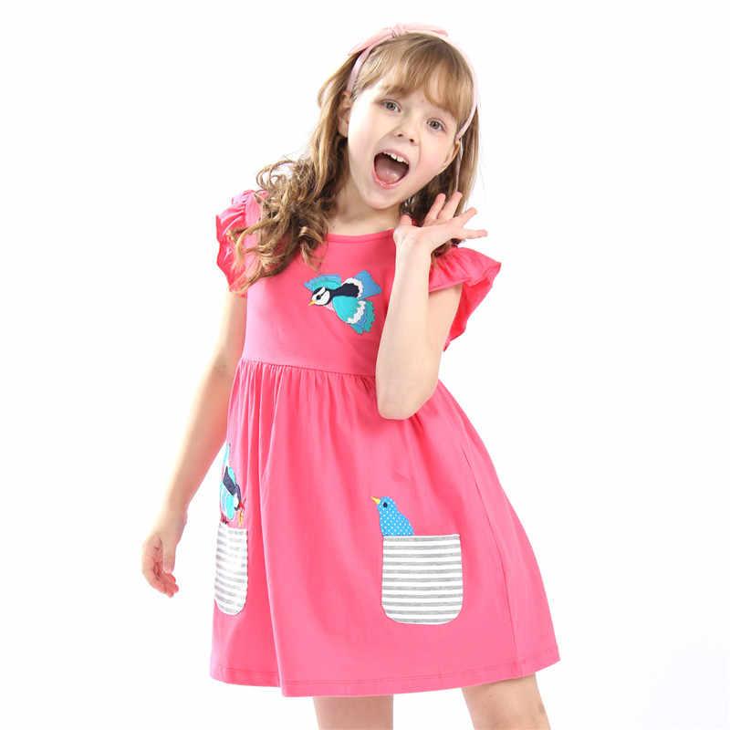 حار بيع طفل الفتيات الصيف التطريز فساتين بلوزة أطفال جودة الكرتون اللباس مع زين بعض لطيف الطيور تصميم جديد اللباس