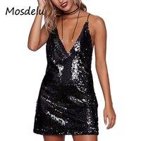 שמלות סקסיות מפלגה הנצנצים mosdelu לנשים להרחיב חזור v העמוק צוואר bodycon dress חלוק dress vestidos קיץ בציר
