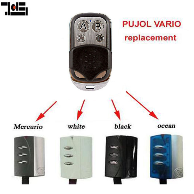 Garege Door Opener Remote For PUJOL VARIO OCEAN, WHITE, BLACK, MERCURIO Rolling Code Replacement Remote Control