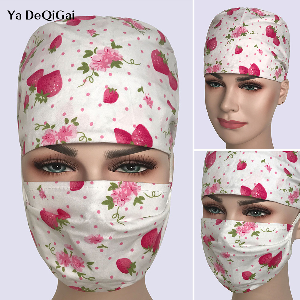 Women Surgeon Nurse Multipurpose Medical Cap Cotton Breathable Beautician Care Cap Printing Dome Scrub Nurse Medical Working Cap