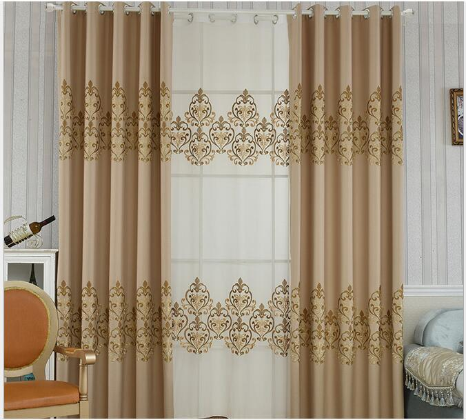Blackout Curtains For Living Room Hotel European Simple: High End Luxury Coffee Linen Polyester European