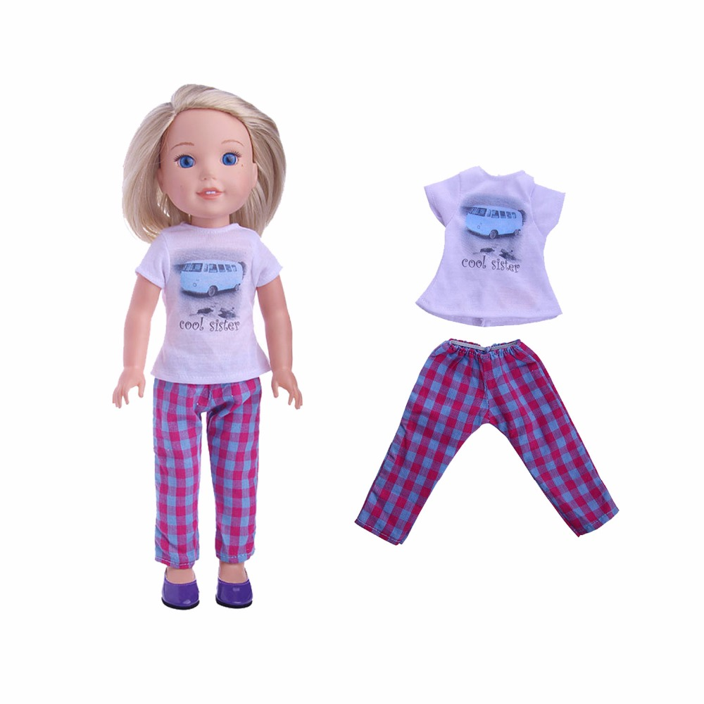 Handmade Cool sister Printing car Doll suit  fashion clothes For 14.5 wellie wishers doll(only clothes) B999