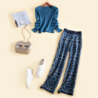 2018 Real New Women Sweaters And Pullovers Sale Pullover European Leisure Wool Knitted Suit Sweater + Straight Jeans Two Piece