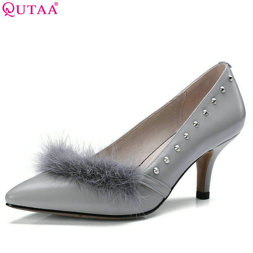 QUTAA 2017 Black Women Pumps Thin High Heel Pointed Toe Platform Genuine Leather Rivet Ladies Wedding Shoes Size 34-39 2015 fashion women pumps high heel pointed toe shoes soft leather elegant ladies wedding shoes red black size 34 40