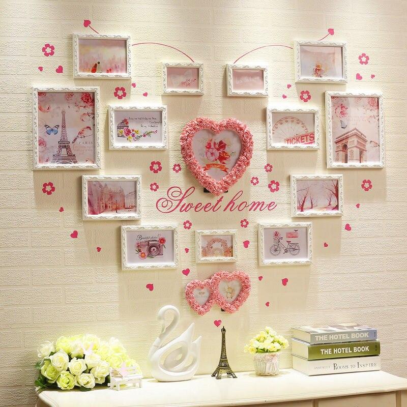15 pcs Sweet Heart Forme Photo Frame Set Rose et Blanc Cadre Photo Famille De Mariage Cadres Photo Pour La Maison Mur décor porta retrato
