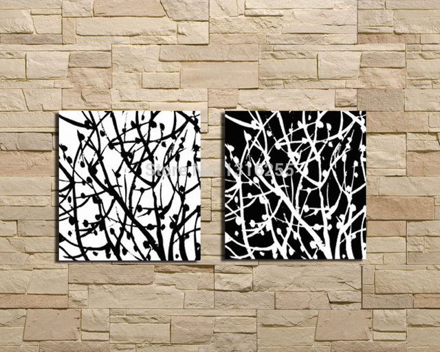 100%Hand Painting Flower Oil Painting Modern Black White Canvas Wall ...