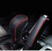 Para Hyundai Creta de Cobertura Do Travão de mão & Gear Alavanca de Câmbio Cabeça Covers Estilo Interior De Couro Mão-costurado 2 pçs/set 2014-2018