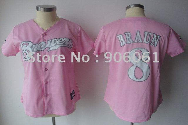 Free shipping-Women Baseball Jerseys Milwaukee Brewers 8 Ryan Braun,Cheap sports jerseys.Mix order