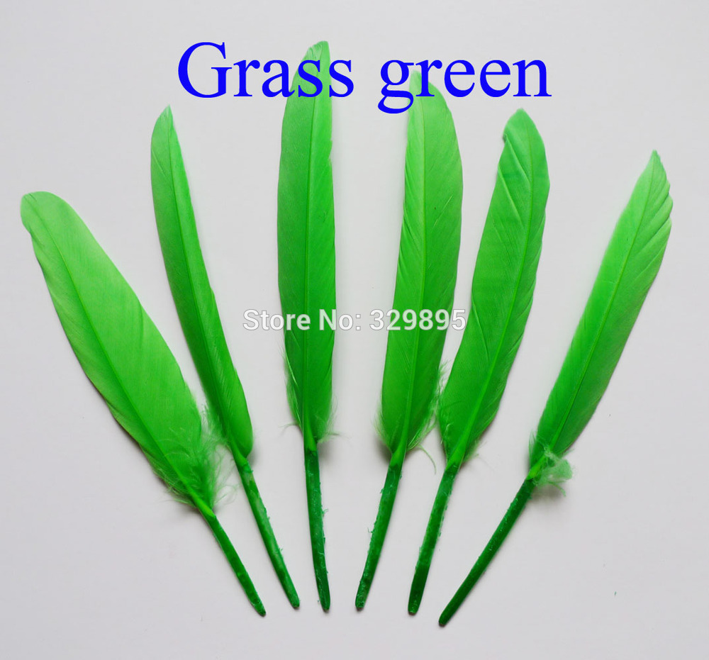 White craft feathers bulk - Craft Feathers 100pcs Grass Green Color 10 15cm 4 6