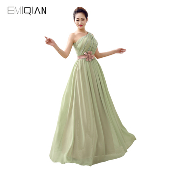 Original Design Gorgeous A Line One Shoulder Green Chiffon Beaded Prom Dresses with Pink Belt