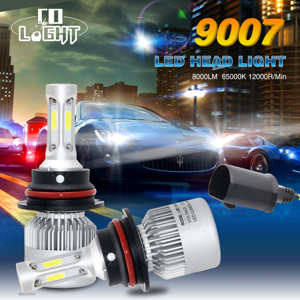 1 Pair 9007/HB5 Led Bulb Led Chip Led Driving Light 72w 8000lm 6500K for BMW Audi Toyota Lada Niva Car Styling 4x4 Off Road h4 7 led headlights with led car canbus led chip 80w 8000lm 6000k hi lo led driving light for off road uaz lada