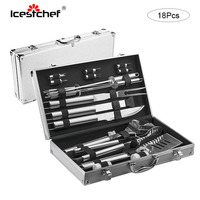 ICESTCHEF 18Pcs/Set Stainless Steel Barbecue Cooking Utensil Set BBQ Grill Tool Kit With Carry Bag or Aluminum box