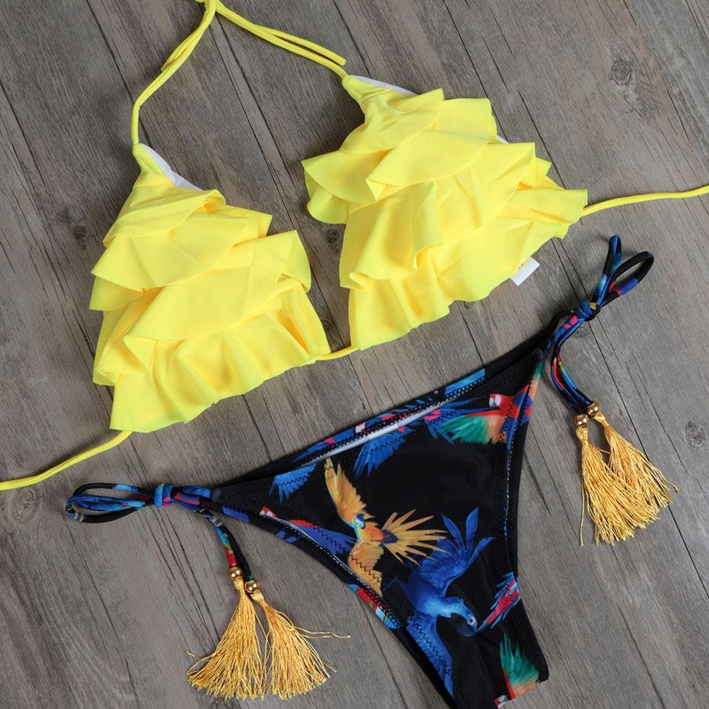 Biqueno Segreto Vestito di Nuoto Per Le Donne Bikini Beach Wear Yellow Ruffle Bikini Costumi Da Bagno Halter Nappa Biquini Costume Da Bagno