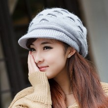 Hat female winter autumn and winter knitted hat female rabbit fur knitted hat ear cap protector cold autumn outdoor warm beanies