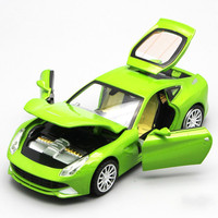 For Ferrary F12 Alloy Sports Car Model Diecast Sound Light Pull Back Door Toy for Children Speed Wheels Toy Auto Car Scale 1:32