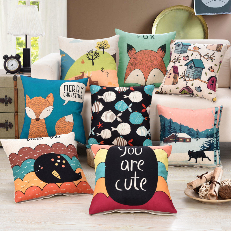 Cute and creative Printed Cotton Linen Cushions Cover f Car Bedroom Sofa Pillow Cases Home Decoration Pillowcases BZ-080