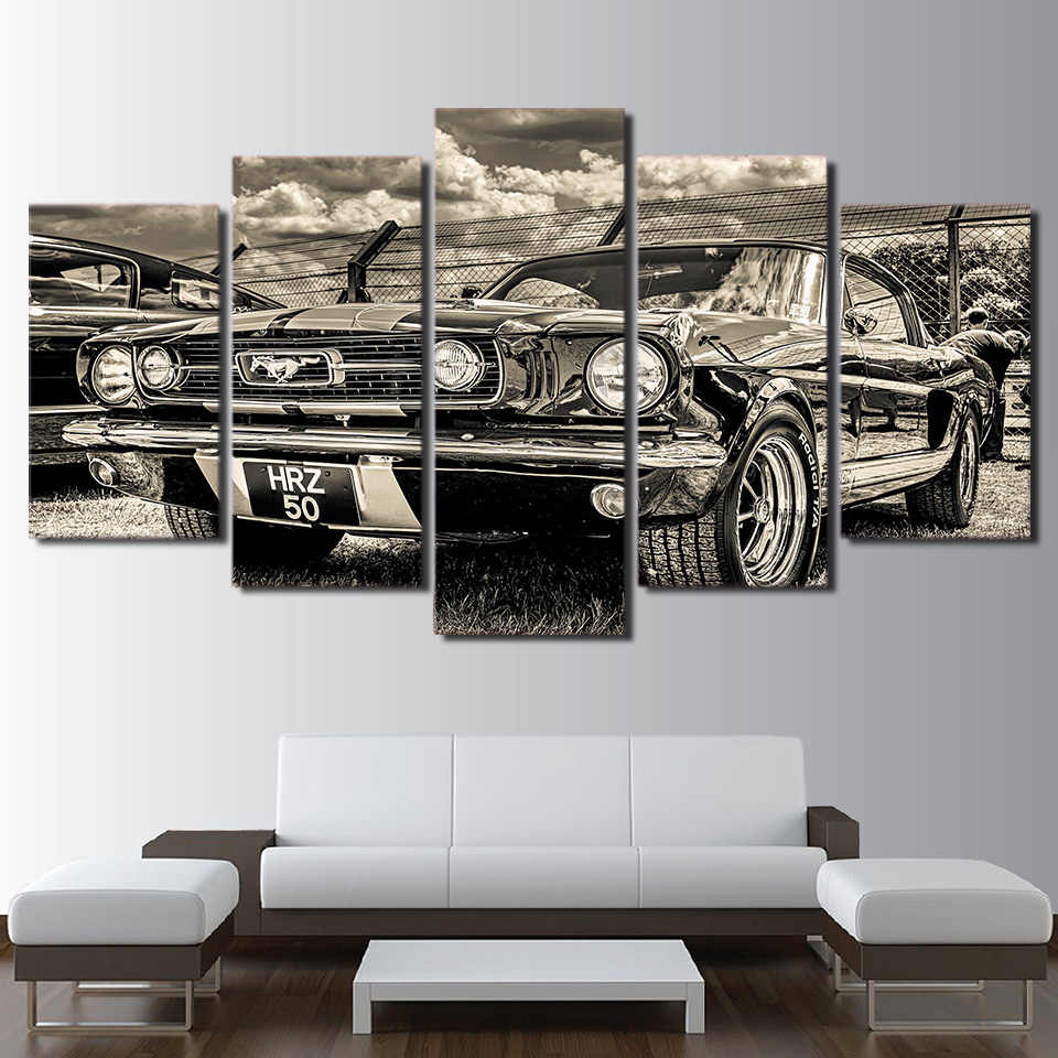 HD Printed One Set 1965 Ford Mustang Car Poster Canvas Paintings Wall Art Home Living Room Bedroom 5 Pieces Decor Framework