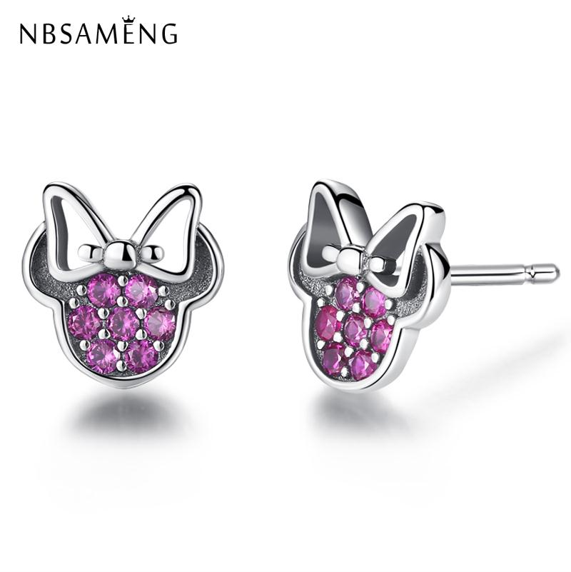 New Authentic 925 Sterling Silver Stud Earrings Girl Mouse Shape Crystals Cartoon CZ Earring Earings For Women Pan Fine Jewelry