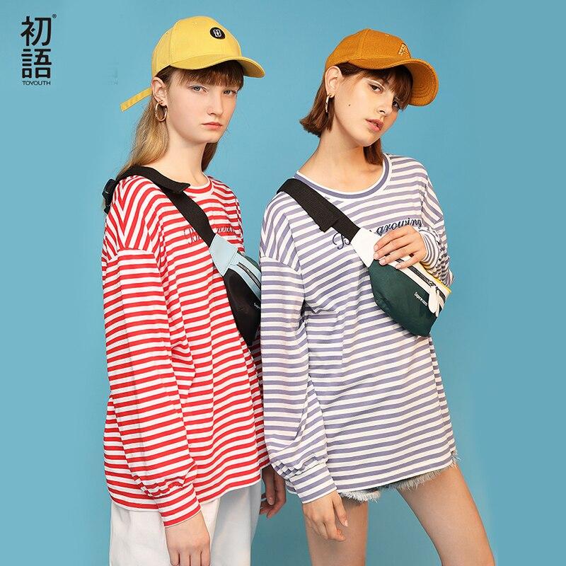 Toyouth 2019 printemps femmes T-Shirt à manches longues rayures col rond chemises nouveauté lâche lettre imprimer femmes hauts