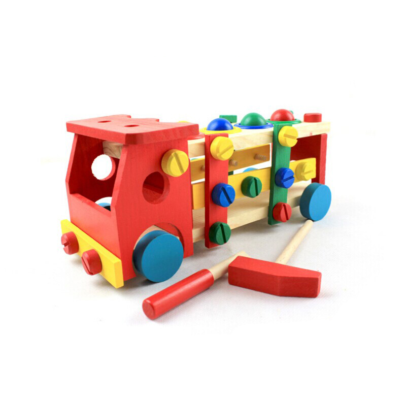 Hiinst Kid Educational Wooden Toy Disassembly Screw Nut Vehicle Car Knock Ball Aug24*R Drop