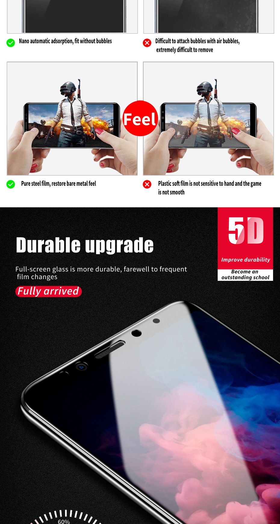 ZNP 5D Screen Protector Tempered Glass For Xiaomi Redmi Note 7 5 Pro Redmi 4X 7A 7 6 Protective Glass For Redmi 5 Plus k20 Film 8