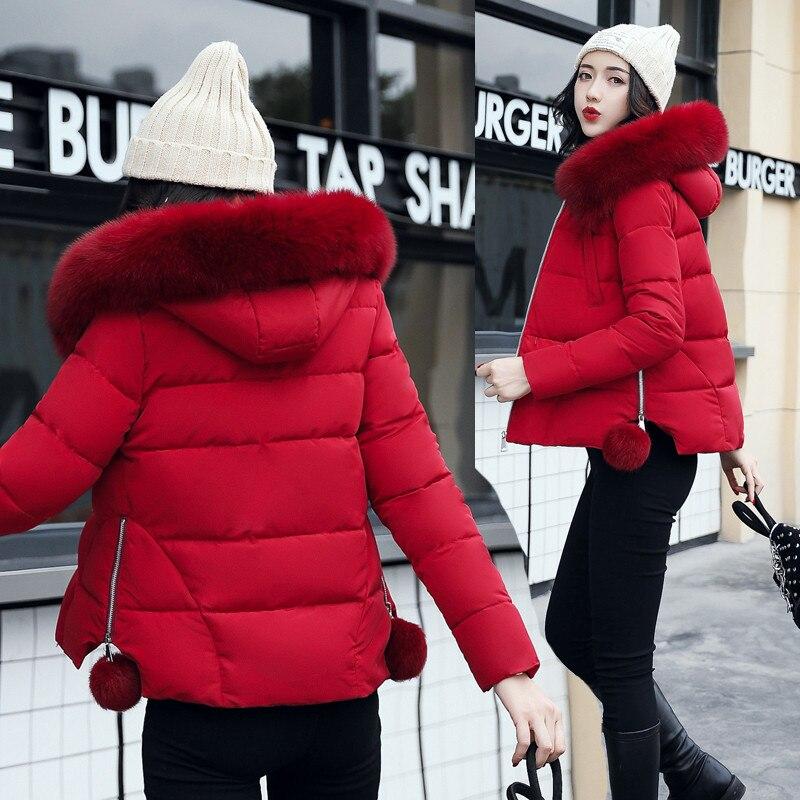 Cw401 Femme 2018 Femmes Coton Veste red Capuche Court Type armygreen Dames Nouveau Thicking pink Cape Longues Fourrure À gray Col Hiver Survêtement Manches De Parkas Black Eqw8ER