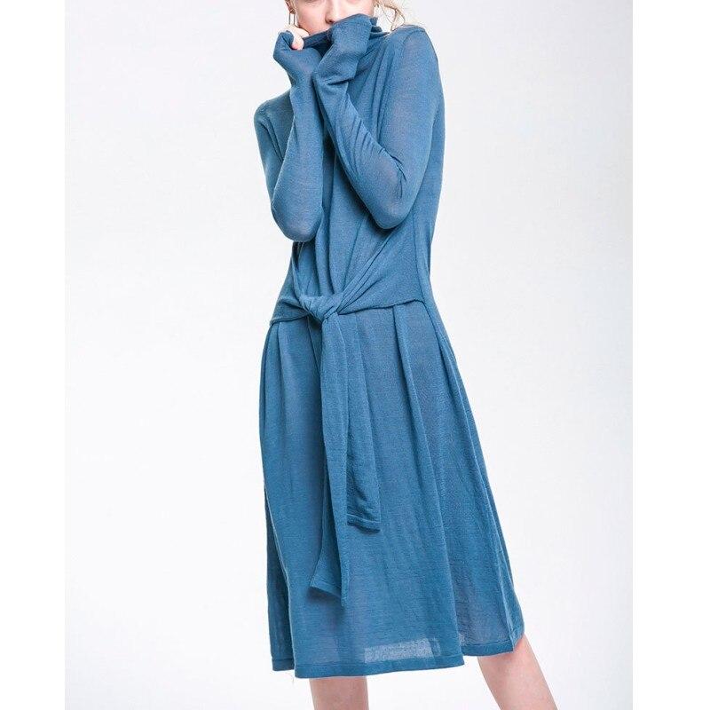 Printemps automne nouvelle taille sangle col roulé robe à manches longues mi-mollet laine à tricoter femmes robes élégantes pour le travail porter H17AW013