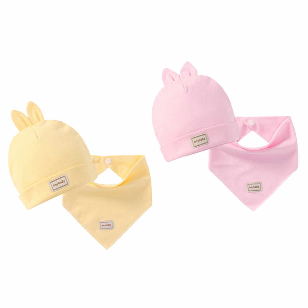 Toddler Hat Baby Kids Cap For Baby Boy Girl Casual Fashion Cotton Star Print Cute Soft Simple Solid Cap Scarf  Set For Children