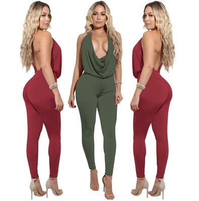 women fashion jumpsuit halter neck wrinkled backless skinny romper jumpsuit ladies sexy tight overall free shipping high quality