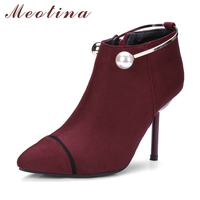 Meotina Ankle Boots Women High Heels Winter Boots Fur Pointed Toe Zipper Shoes Large Size 33