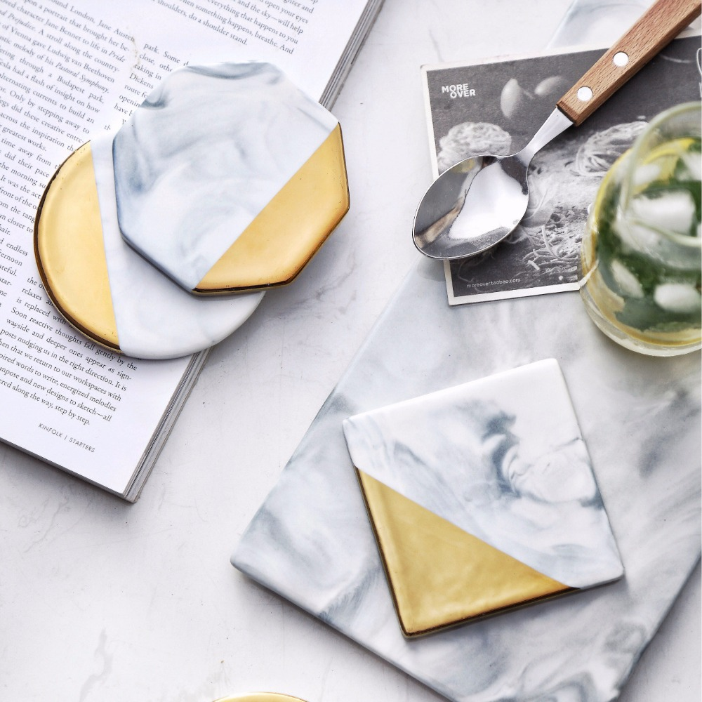 3 Styles Dali Marble Cup Mat Gold Marble Coaster Cup Mat Round Square Octagon Placemat Pad Holder Mug Coaster Table Placemat