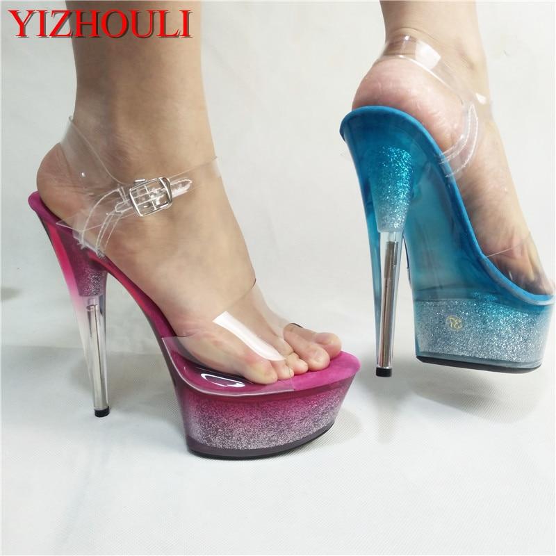Здесь продается  The latest fashion model runway show, runway dance club girl, ultra high heel sandals, flash powder sequins 15 cm sandals  Обувь