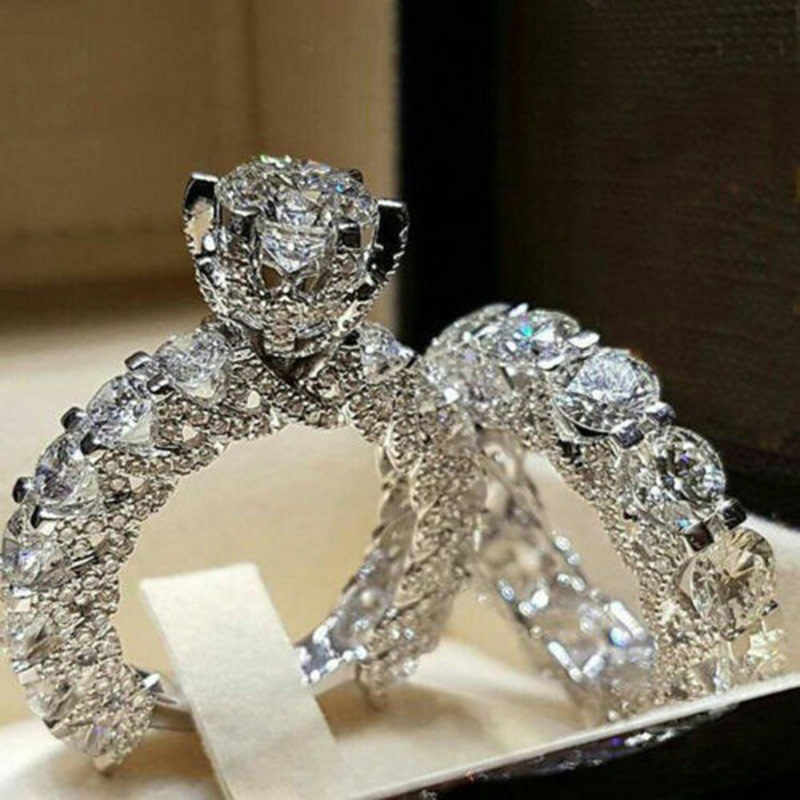 2Pcs Wedding Rings Set for Women Silver Color Luxury Full Crystal Zircon Love Finger Ring Couple Engagement Ring Jewelry Gifts