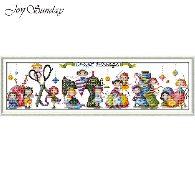 Joy Sunday Craft Village Cross Stitch Cartoon Pattern 14CT 11CT DMC A Ballet School DIY Handwork Embroidery kit Needlework set