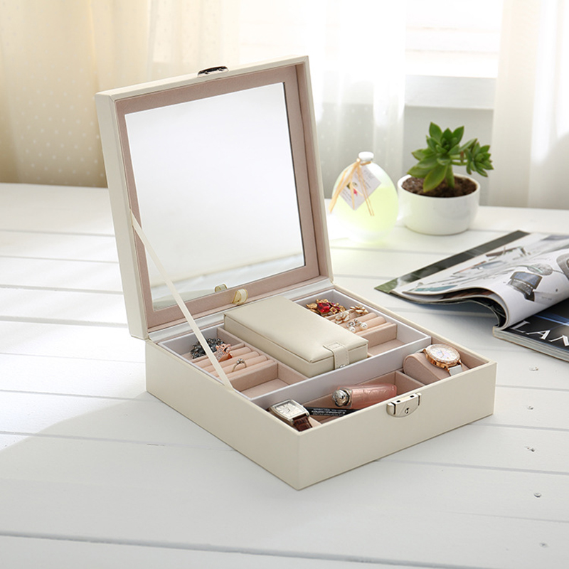 JULYS SONG Simple Personalized Pure Color Storage Box PU Leather Jewelry Packing Storage Container Case with Big Mirror CC432