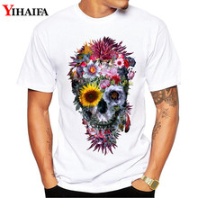 Hipster Men T Shirt Summer Slim Fit Graphic Tee Floral Skull 3D Print T-Shirts Casual Unisex White Tops men skull and floral print tee